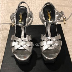 YSL Platform Tribute Sandals Size 36.5 In Silver